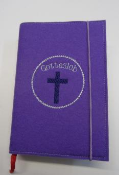 Gotteslobhülle flieder, mit Kreuz