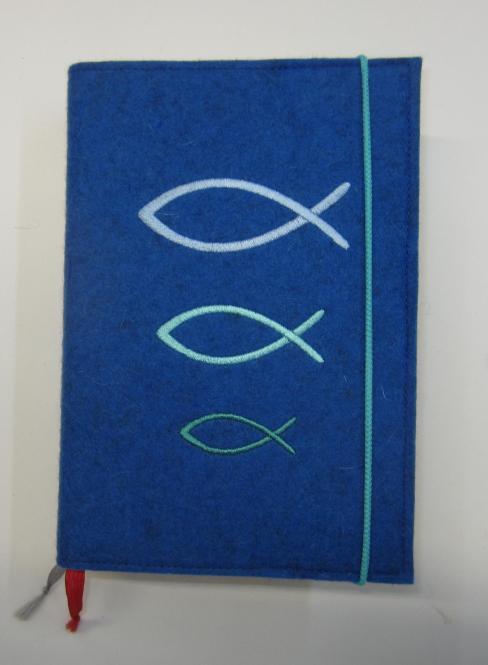 Gotteslobhülle blau mit Fischen